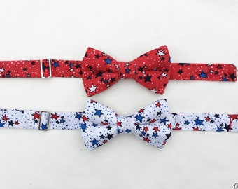 Boys Patriotic Bow Tie, Boys Red White and Blue Bow Tie, Toddler Bow Tie,  4th of July Bow Tie for Boys, Boys Red Bow Tie, White