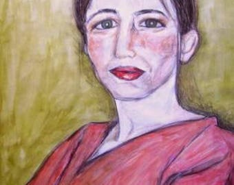 Oil pastel portrait, Juliette, oil pastel, oil pastel on paper, 250 gram paper.