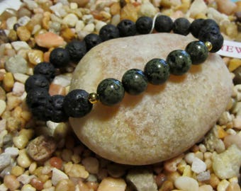 Mens, Black Lava Stone, Green Quartzite Stone, Natural Healing, Bracelet