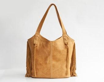 Leather Bag, Fringe leather bag, Soft Leather Bag, Hobo Bag, Large Tote Bag, Tassel Bag, Everyday Tote, Zipper Bag, Handmade Leather Bag