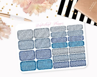 Blue Glitter Half Box, Quarter Box & Scallop Box Designs // Perfect for Erin Condren Vertical Life Planner