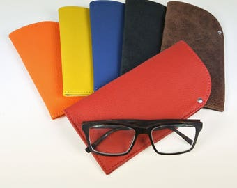 Leather Glasses Case - Glasses Pouch - Handmade - UK