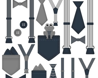 Boy Onesie Accessories Clip Art Pocket Handkerchief Suspender Tie Bow Tie Clip Art Little Gentleman Navy and Gray