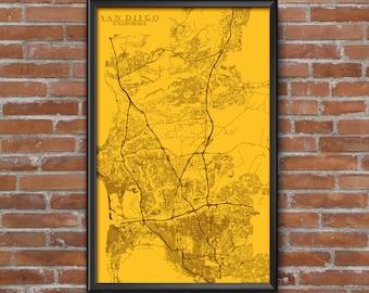 San Diego, California Map Art (San Diego Padres)