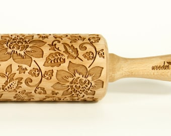 Shabby chic VINTAGE FLOWERS 1 Rolling Pin Engraved Rolling Pin Embossed Rolling Pin  Wooden Rolling pin