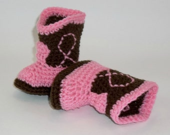 CLEARANCE Crochet NEWBORN Baby Booties  Chocolate & Rose Pink Cowgirl Boots Baby Photo Prop Western Cowboy Boots
