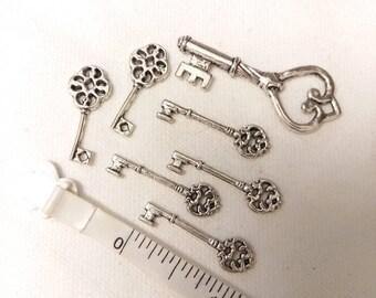 Skeleton Key Charms Pendants Lot