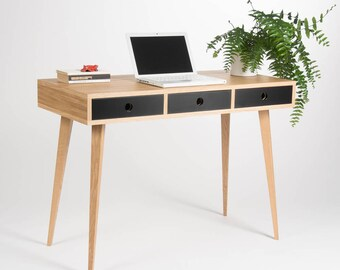 Small modern desk, bureau, dressing table, oak wood, mid century modern, customized size and finish
