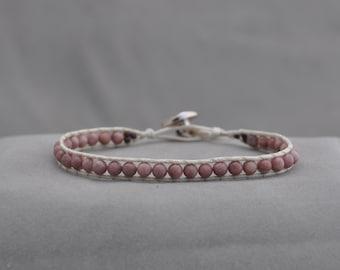 rhodonite and cream beaded wrap bracelet
