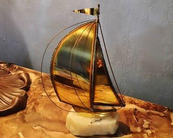 Vintage Brass Sail Boat Nautical Sculpture On Quartz Base Signed Demott