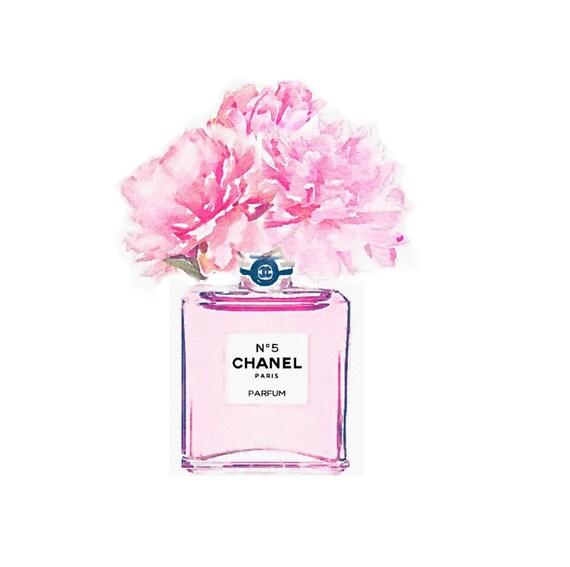 Pink no 5 perfume bottle digital art print vase peonies roses mightylinksfo