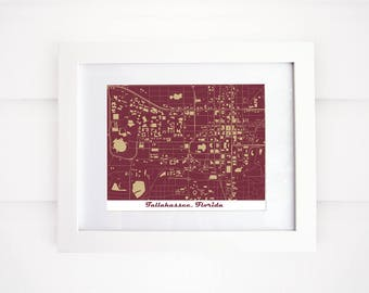 Florida State University Map Print, Tallahassee Map, Florida Map