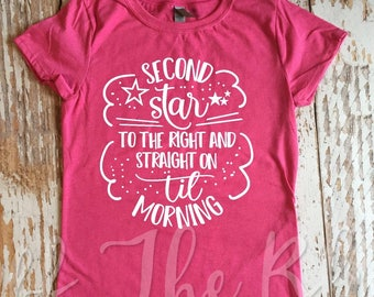 Second Star to the Right and Straight on til Morning Peter Pan little girls Shirt