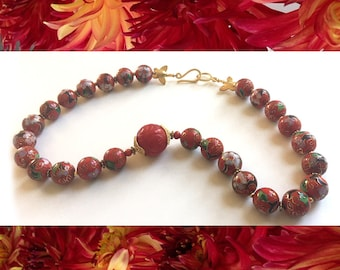 Scarlet Peony: Chinese cloisonne enamel, carved coral, gold wash. Necklace and earring set.