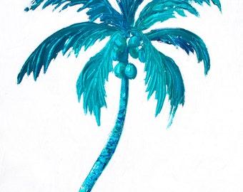 Coconut Palm Tree painting, tropical painting, coastal, Florida palm trees, bathroom art, Hawaii palm tree, Etsy Art, Jan Matson