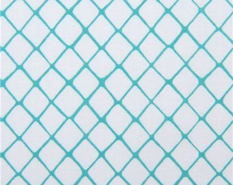 213619 white Michael Miller fabric sea green line diamond Flew the Coop