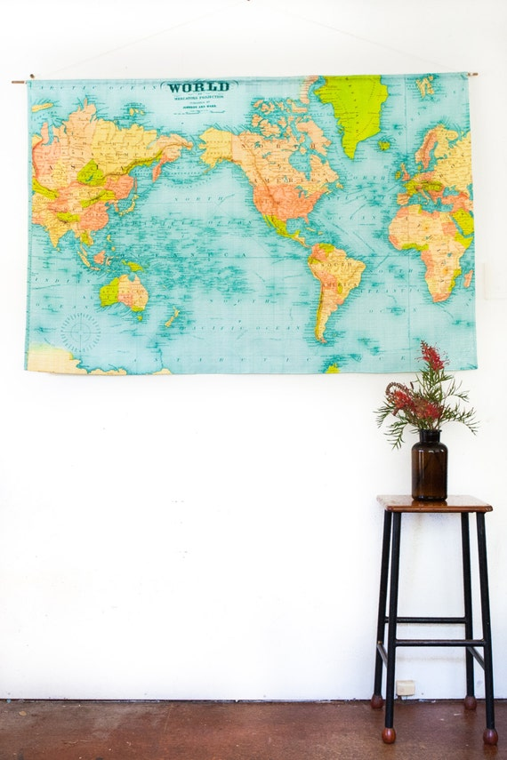 Vintage world map world map wall hanging vintage school like this item gumiabroncs Images