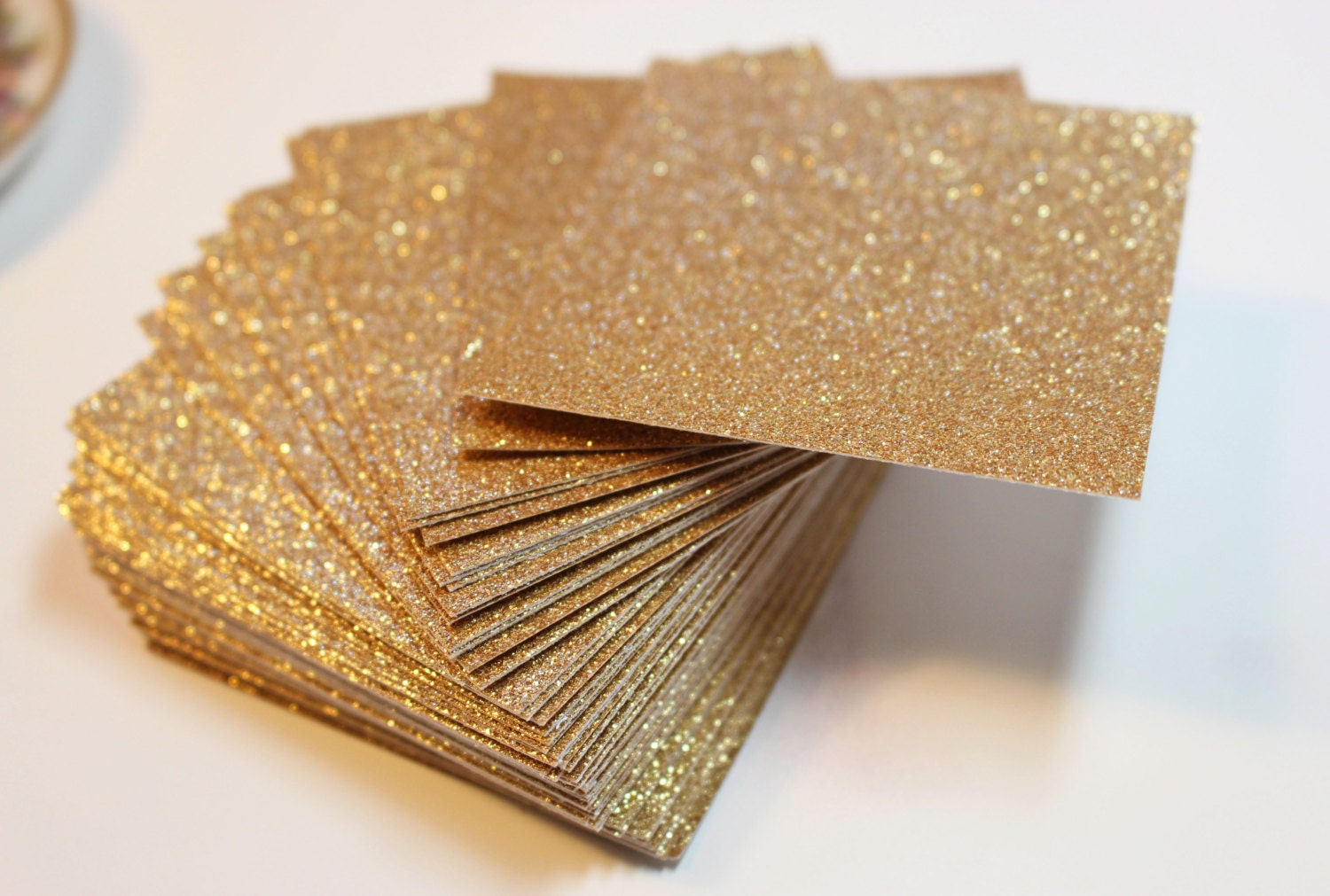 Gold glitter cardstock wedding invitations and favor tags zoom stopboris Choice Image