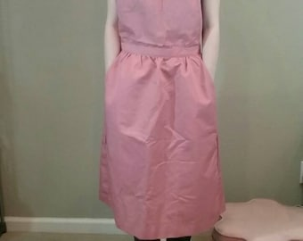 Vintage 70s dusty pink rose apron pinafore dress