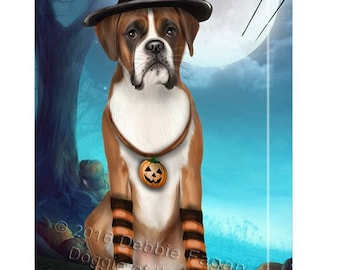 Happy Halloween Trick or Treat Boxer Dog Candy Corn Canvas Wall Art