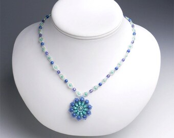 blue flower necklace, beaded flower pendant necklace, blue floral pendant, flower shaped necklace, diamond shape necklace, 345-1