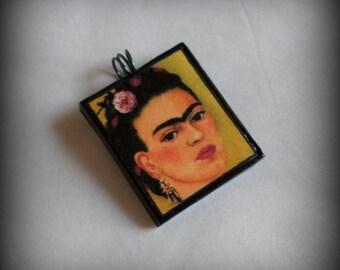 Handmade Polymer Clay Frida Kahlo Pendant