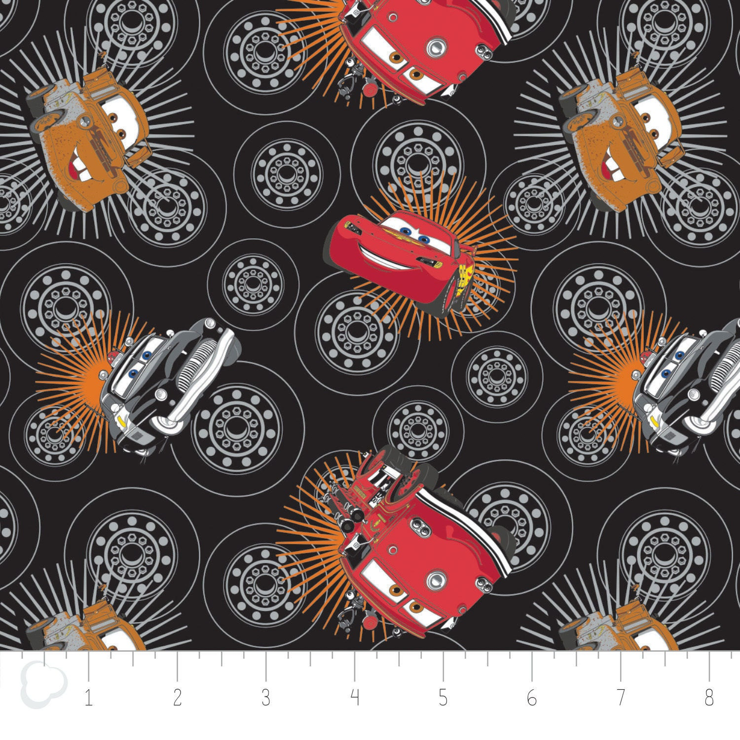 Disney fabric disney pixar cars wheels in black by camelot zoom nvjuhfo Image collections
