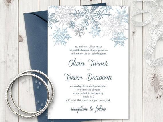 winter wedding invitation template snowflakes