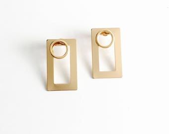 Double circle squared earrings