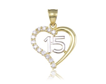 14K Solid Yellow Gold Cubic Zirconia Heart Sweet 15 Pendant - Love Quinceanera Anos Birthday Necklace Charm