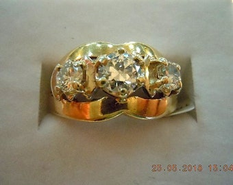 VINTAGE 14k Scalloped Wide Band - center diamond .49cts H Color - Clarity - VS2
