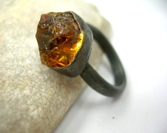 Golden brown citrine and sterling silver ring. joy and prosperity stone. Made to Order.