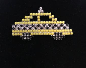 Vintage Dorothy Bauer Yellow Taxi Pin/1980s Bauer Taxi Cab Brooch/Taxi Cab Pin Brooch