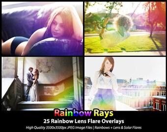 25 Photoshop Actions Overlays - Rainbow Lens Flare Solar Flare - Rainbow Rays
