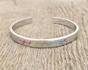 Pride Bracelet, Rainbow Heart Bracelet, Heart Bracelet, Rainbow Pride Bracelet, Pride Jewelry, Mothers Day gift, Mothers Day