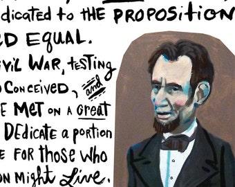 Gettysburg Address giclee print ... various paper sizes ... Abraham Lincoln speech ... history • president • hand lettering • inspirational