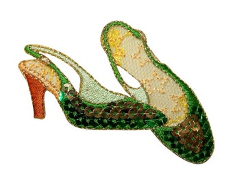 ID 9042 Sequin High Heel Shoes Patch Slipper Formal Embroidered Iron On Applique
