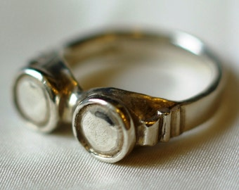 Goggles ring, sterling silver, handmade, unusual