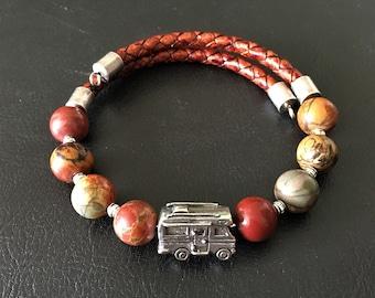 Class C Motorhome Bracelet, Red Snowflake Jasper Bracelet, Leather Bracelet, Motorhome Charm, Gift for RVer, Wrap Bracelet, 99014
