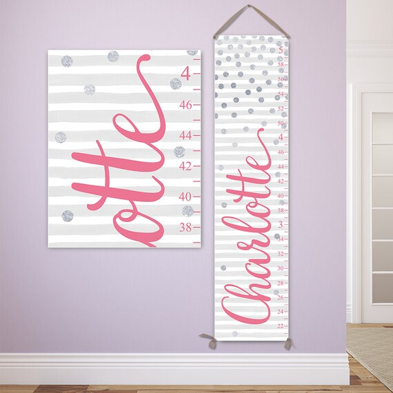 Pink and Silver Growth Chart, Pink and Silver Nursery Decor, Personalized Canvas Growth Chart, Polka Dots Nursery Decor  - GC2024G