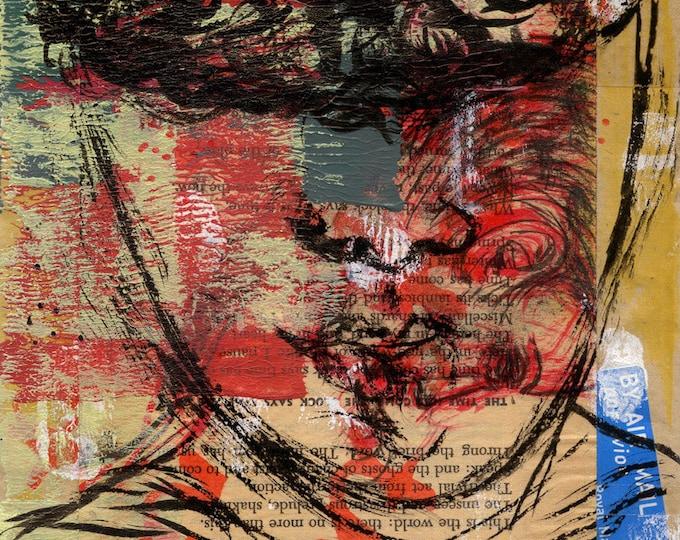 fighting the giant antaeus / frameless canvas print / original art / art lover / art gift