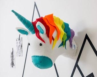 Unicorn decor, girls bedroom decor, unicorn wall art, rainbow unicorn, Nursery art, unicorn baby shower, nursery decor, animal head wall,