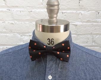 vintage black and coral polka dot bow tie