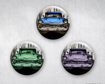 Classic Retro Cars in Havana Cuba, Pinback Buttons, Original Art and Design Created in the U.S. by Sherrie Thai, 1.25 inch, Set of 3