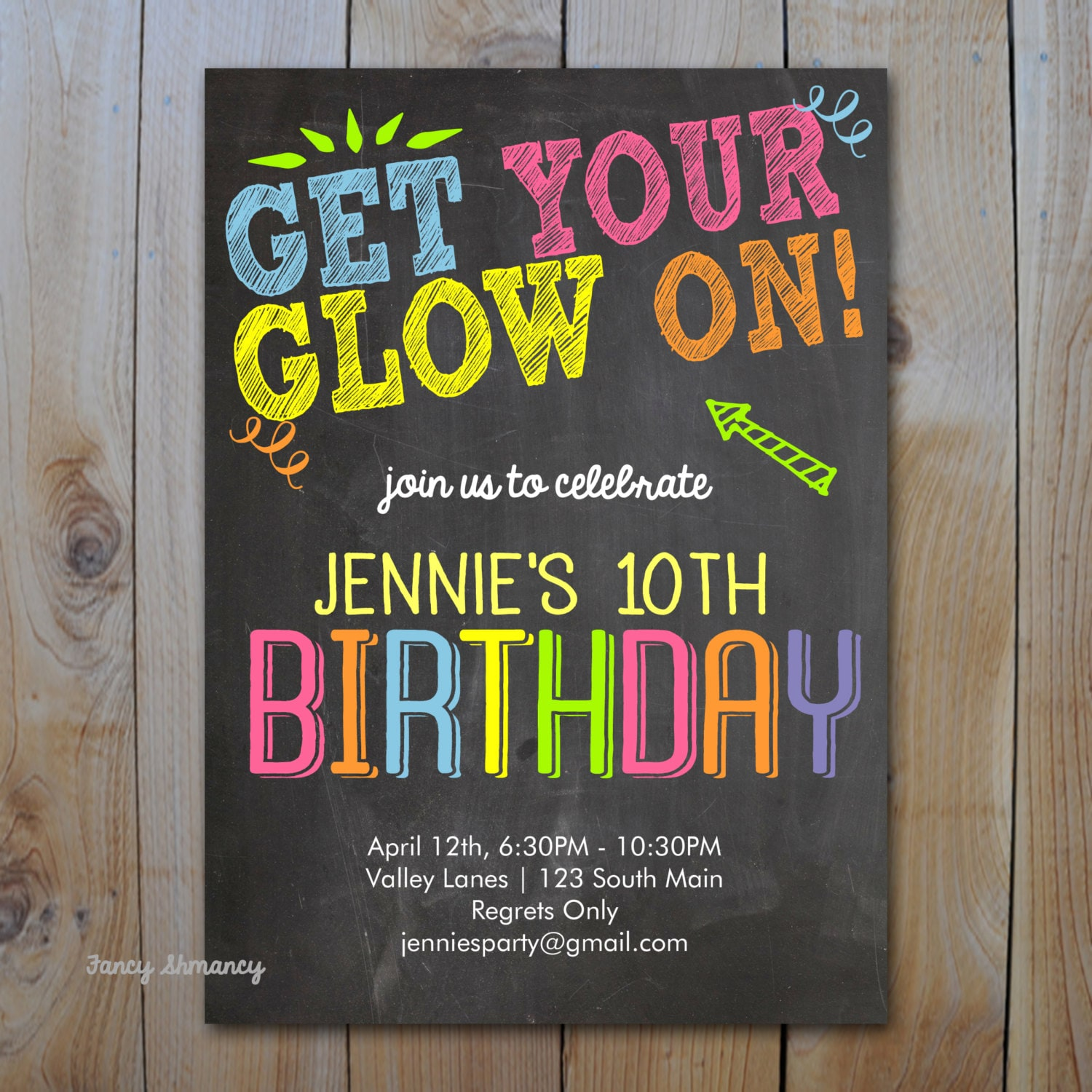 Neon Birthday Invitation / Get Your Glow On / Glow in the Dark