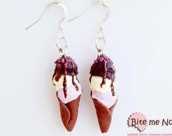 Polymer Clay Jewelry Triple Ice Cream Scoop Cones Hook Earrings, Mini Food, Handmade Earrings, Polymer Clay Sweets, Miniature Food, Kawaii