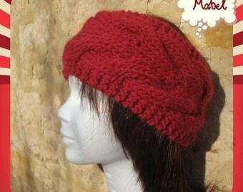 Alpaca red twist headband, knit hand made, very warm and soft alpaca wool