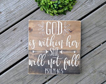 Nursery Scripture, back to school, Christian wood sign, Bible verse art, Scripture sign, God is within her she will not fall, Psalm 46:5