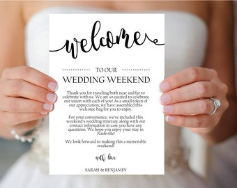 Wedding Itinerary, Welcome Letter Template // Printable Welcome Note // Welcome Itinerary