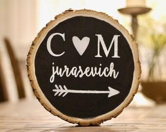 personalized tree stump, wedding gift, engagement gift